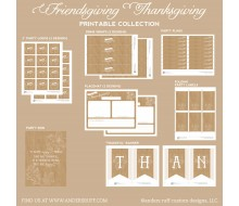 Rustic Thanksgiving Friendsgiving Printable Holiday Collection - Instant Download