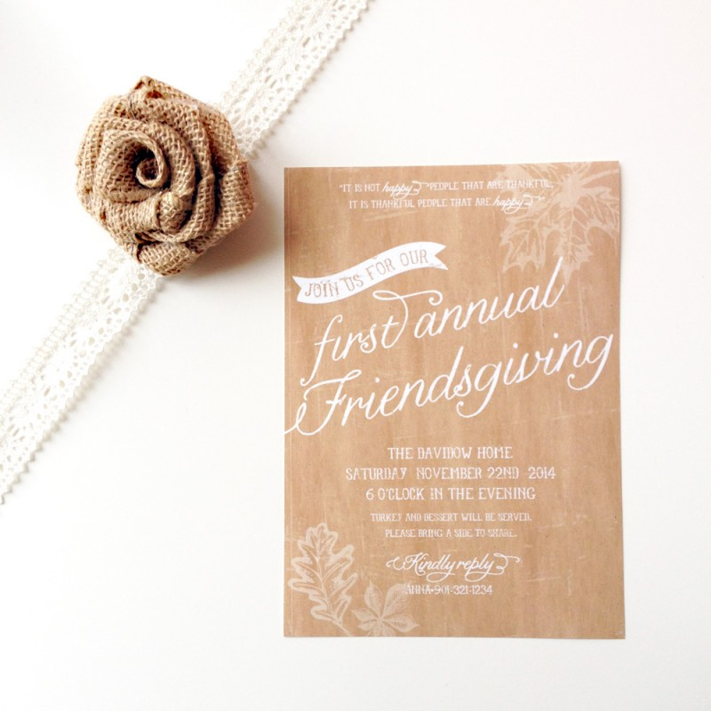 Thanksgiving Friendsgiving Printable Invitation