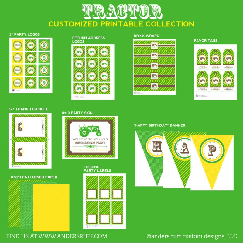 Tractor John Deere Inspired Birthday Party Printables Collection