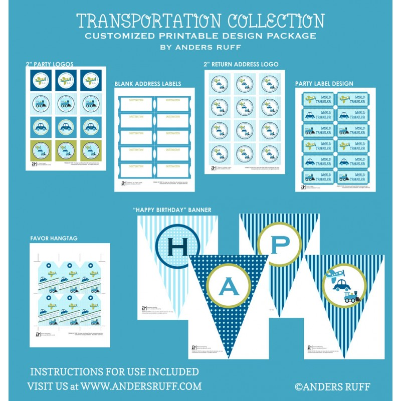 transportation birthday party printables collection planes trains