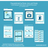 Transportation Birthday Party Printables Collection - Planes, Trains and Automobiles