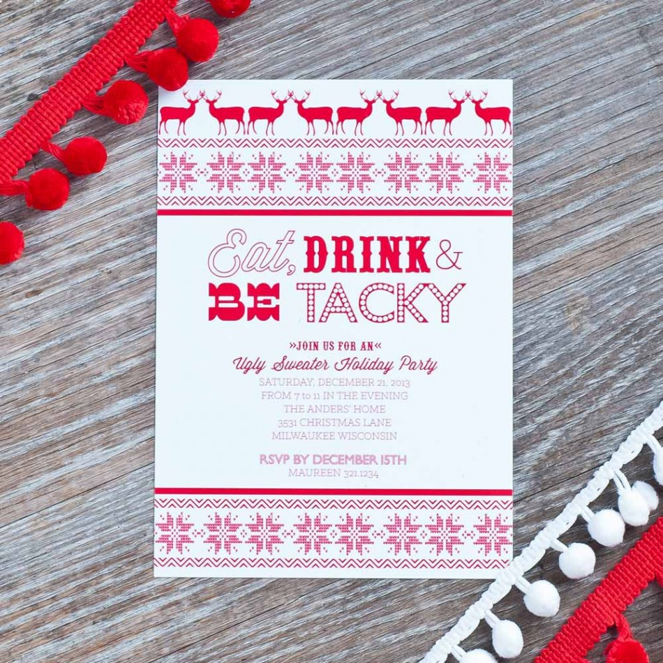 Ugly Christmas Sweater Party Invitations Free