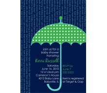 Umbrella Baby Shower Sprinkle Raining Words Printable Invitation - Green