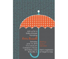Umbrella Baby Shower Sprinkle Raining Words Printable Invitation - Orange