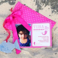 Mermaid Under the Sea Birthday Party Printable Photo Invitation - Pink