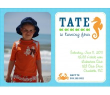 Seahorse Under the Sea Birthday Party Printable Invitation - Orange Blue