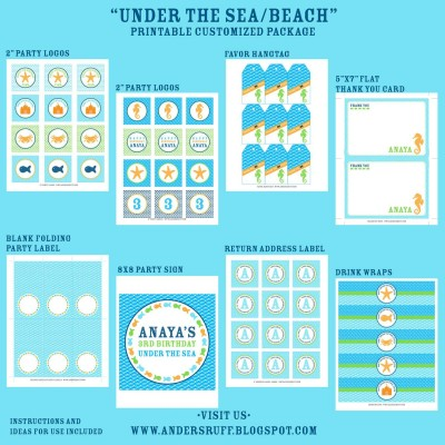 Seahorse Under the Sea Boy Birthday Party Printable Collection - Orange Blue