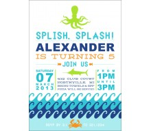Under the Sea Waves Birthday Party Printable Invitation