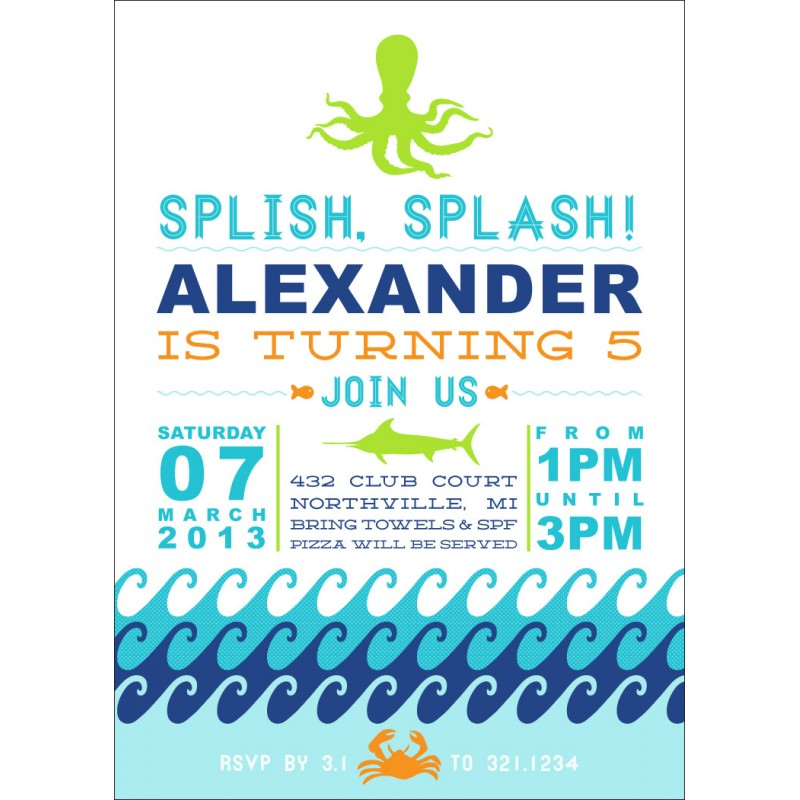 under the sea waves birthday party printable invitation - Under The Sea Party Invitations