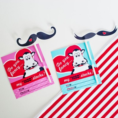 """Moostache"" Mustache Valentines Day Printable Card and Mustache Prop - Instant Download"