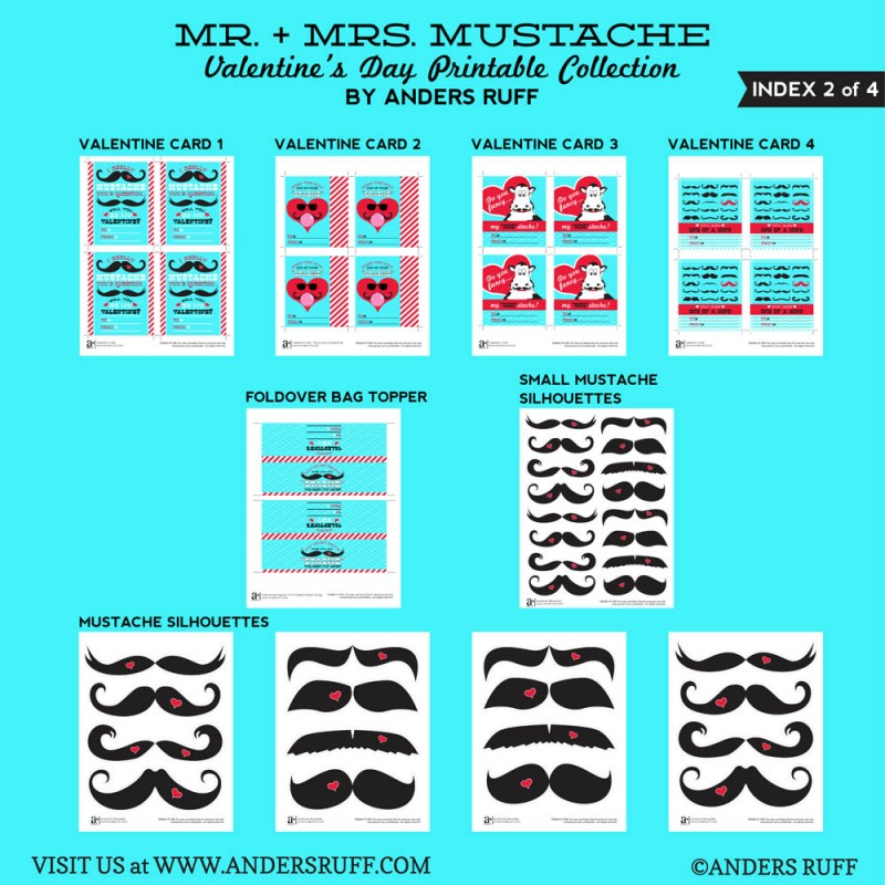 Mr and Miss Mustache Valentines Day Printables for Boys and Girls ...