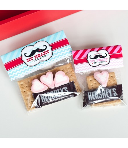 Mr and Miss Mustache Valentines Day Printable Folding S'mores Bag Topper - Instant Download