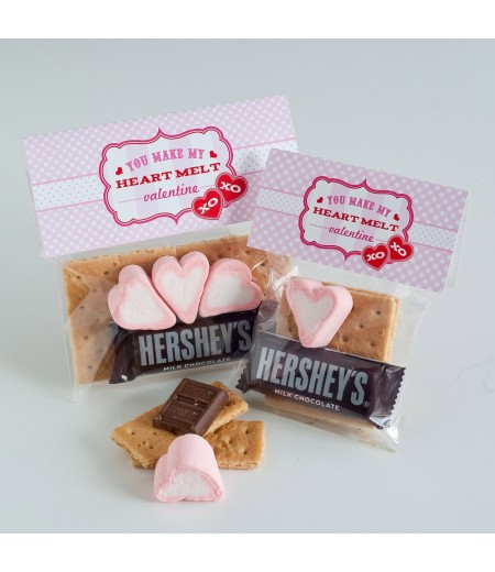 Sweet Valentines Day Printable Folding S'mores Bag Topper - Instant Download