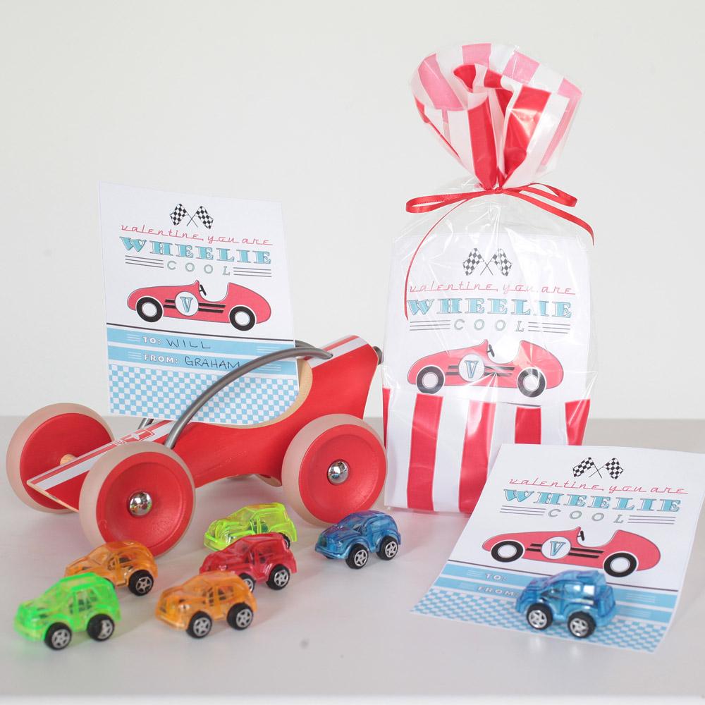 Wheelie Cool Vintage Car Valentines Day Printable Card   Instant Download