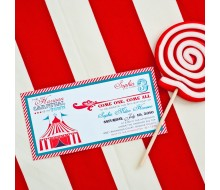 Vintage Carnival Circus Birthday Party Printable Invitation - Aqua Red
