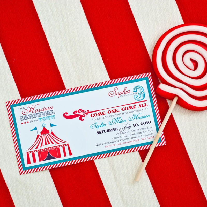 Vintage Carnival Circus Birthday Party Printable Invitation