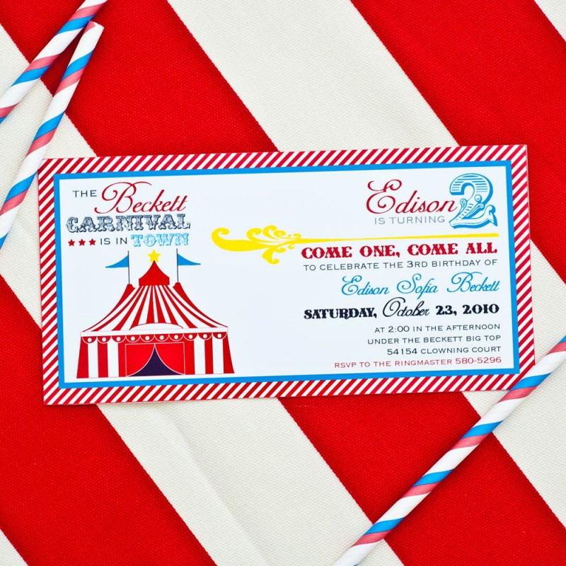 Carnival Circus Birthday Party Printable Invitation  Red Yellow Blue