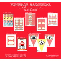 Vintage Carnival Circus Party Printables Collection - Red Yellow Blue