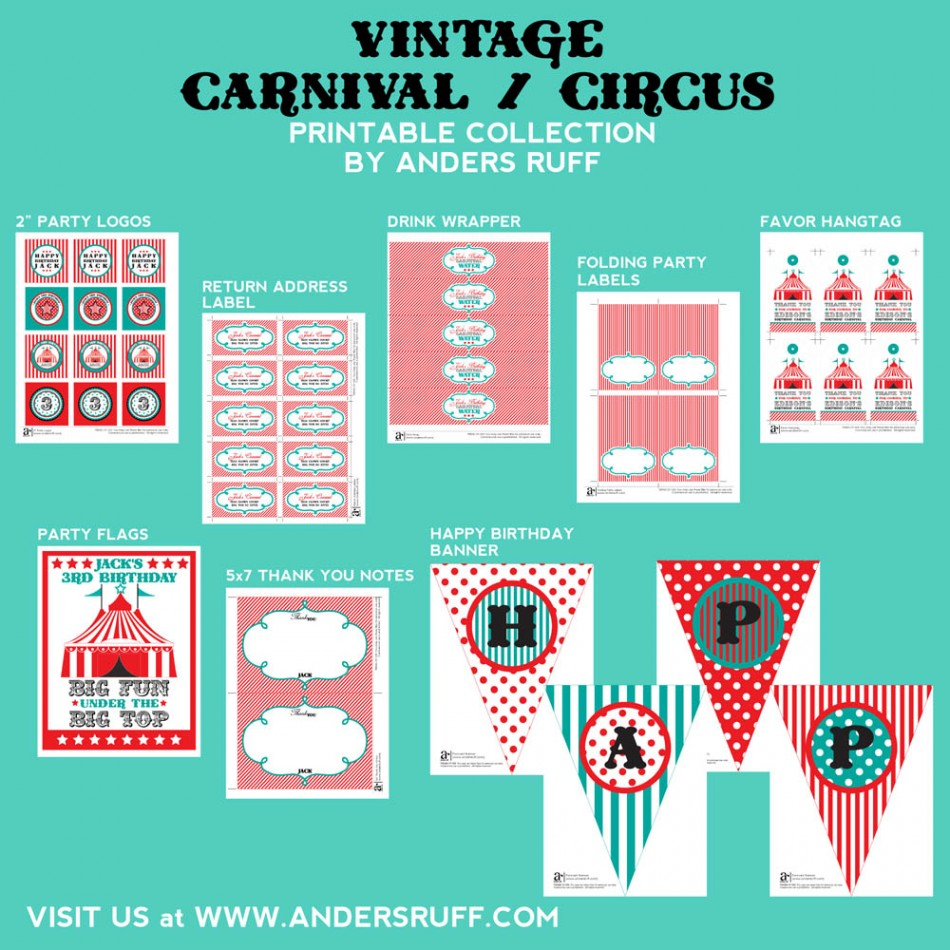 Vintage carnival circus party printables collection aqua red for Circus printables