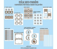 Milk and Cookies Birthday Party Printables Collection - Blue