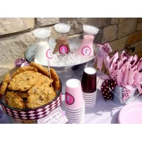 Milk and Cookies Birthday Party Printables Collection - Pink