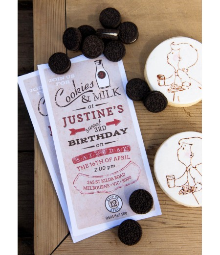 Vintage Milk and Cookies Birthday Party Printable 4x8 Invitation - Red