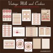 Vintage Milk and Cookies Birthday Party Printables Collection - Red