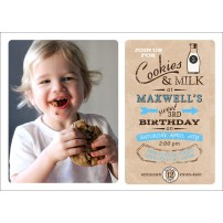 Vintage Milk and Cookies Birthday Party Printable Photo 5x7 Invitation - Blue