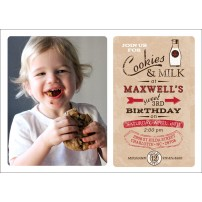 Vintage Milk and Cookies Birthday Party Printable Photo Invitation - Red