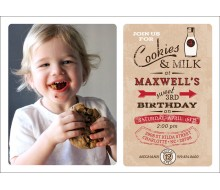 Vintage Milk and Cookies Birthday Party Printable Photo 5x7 Invitation - Red