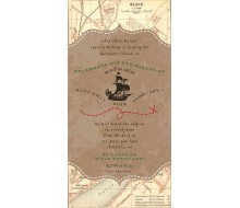 Vintage Pirate Party Treasure Map Neverland Birthday Party Printable 4x8 Invitation