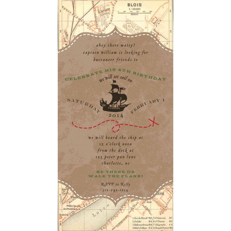 Vintage Pirate Party Treasure Map Neverland Birthday Printable 4x8 Invitation