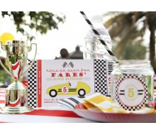 Vintage Race Car Birthday Party Printable Invitation - Yellow, Black and Red