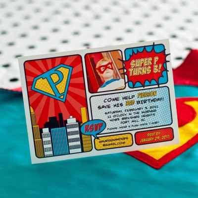 Vintage Super Hero Printable Photo Invitation