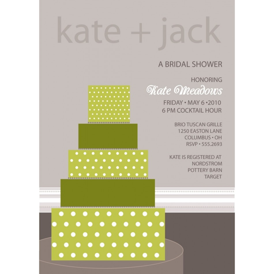 Wedding Cake Bridal Shower Printable Invitation  Green