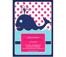 Preppy Whale Birthday Party Printable Invitation