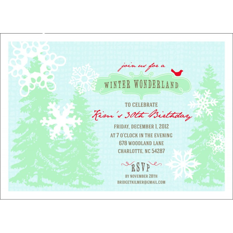 wonderland holiday or birthday party printable invitation, party invitations