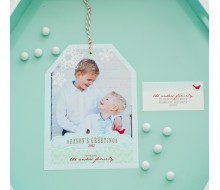 Holiday Photo Hangtag Printable Card - Winter Wonderland Chevron in Aqua Mint and Red - Signature Design