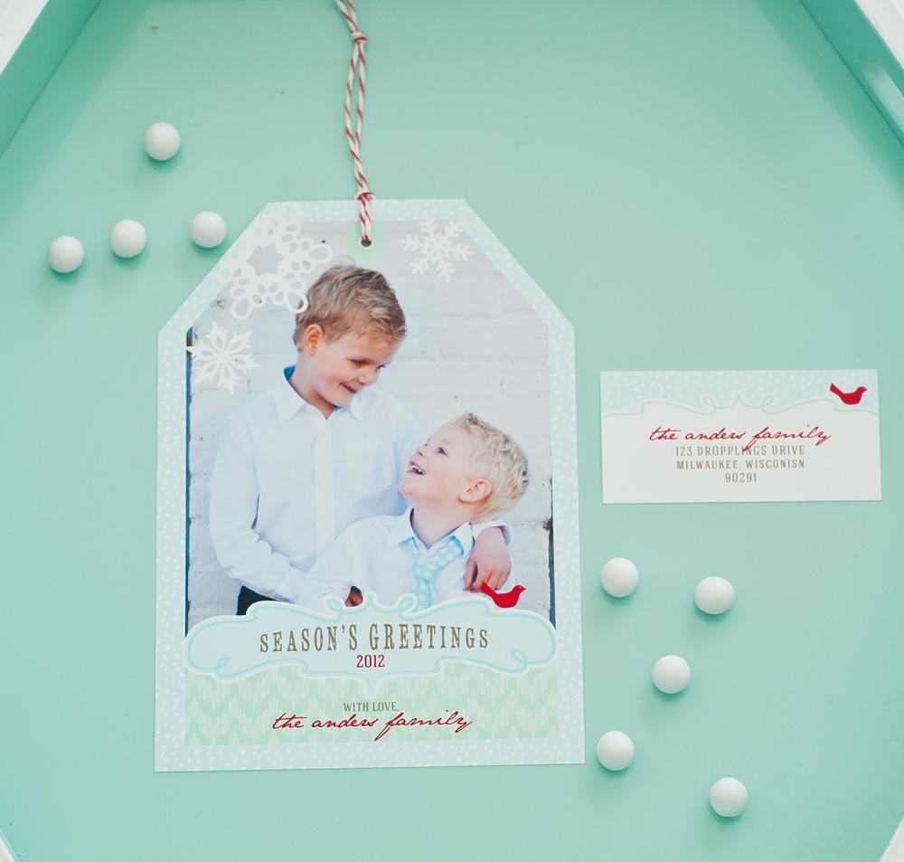Holiday Photo Hangtag Printable Card - Winter Wonderland Chevron in ...