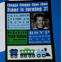Modern Train Birthday Party Printable Invitation - Green Blue