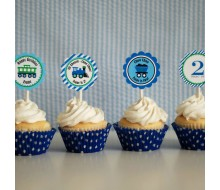 Modern Train Birthday Party Printables Collection - Green Blue