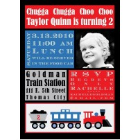 Modern Train Birthday Party Printable Invitation - Red Blue