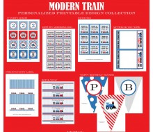Modern Train Birthday Party Printables Collection - Red Blue