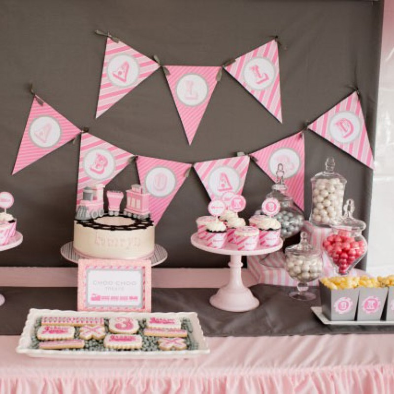 Vintage Train Engine Girl Pink And Grey Birthday Party Printables Collection