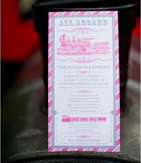 Vintage Train Girl Invitation - Pink and Gray - Birthday Party Printable Invitation
