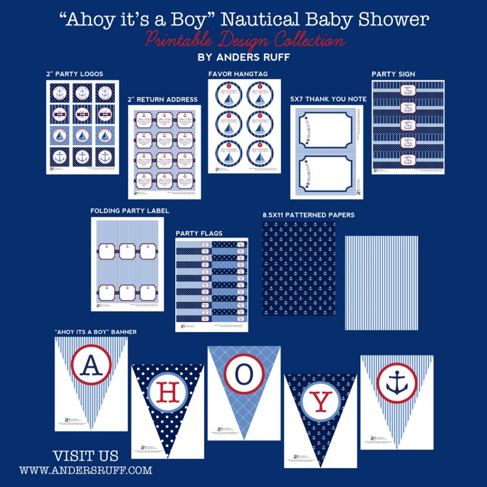 Ahoy It's A Boy Nautical Baby Shower Printables Collection