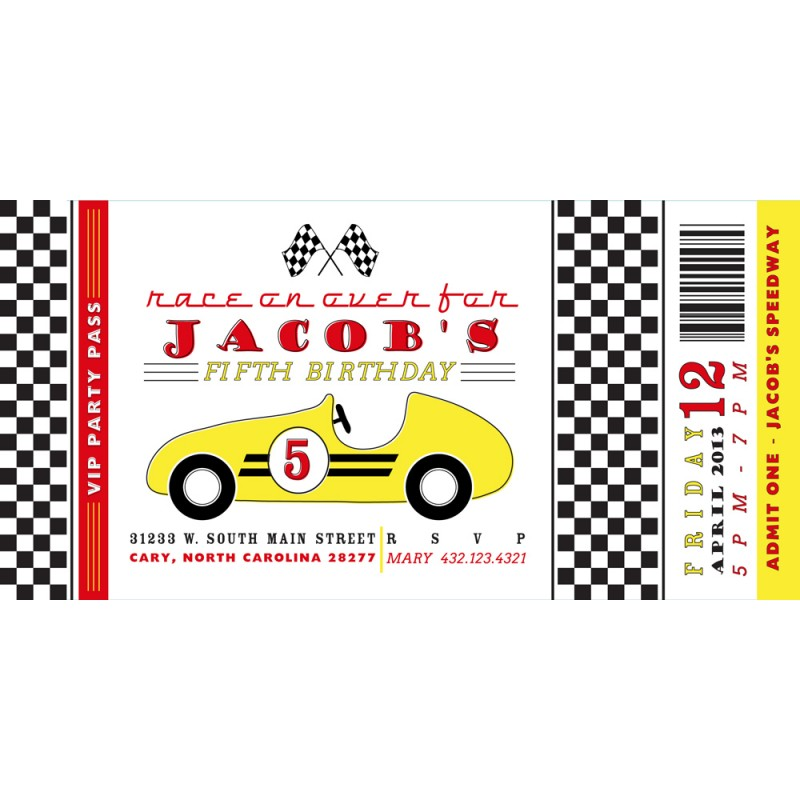 Very Vintage Race Car Birthday Party Printable Invitation - Yellow  UP38