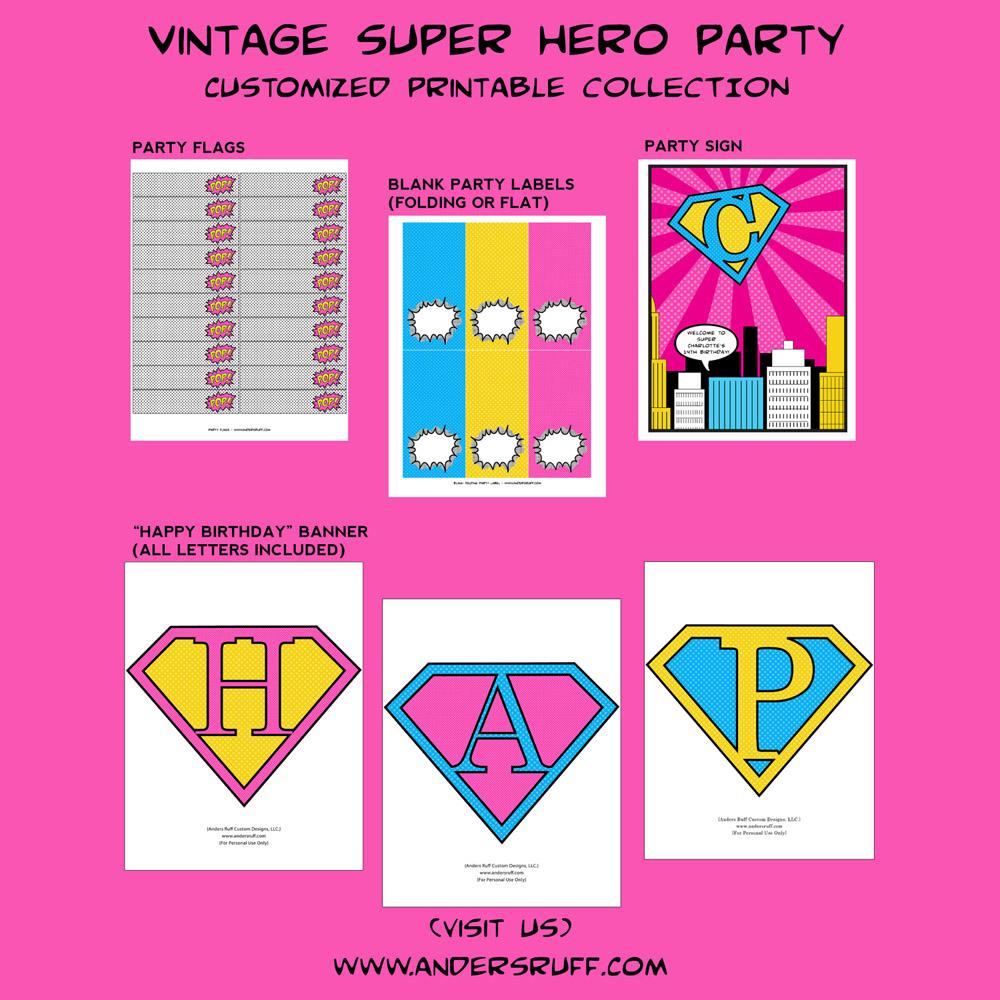 Fresh Vintage Super Girl Printable Collection JU68